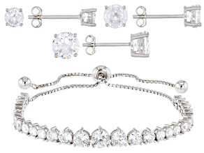 White Cubic Zirconia Rhodium Over Sterling Silver Adjustable Bracelet and Stud Earring Set 11.81ctw