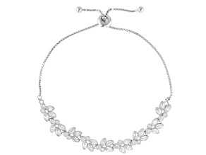 White Cubic Zirconia Rhodium Over Sterling Silver Adjustable Bracelet 3.63ctw