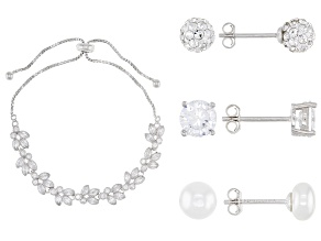 White Cubic Zirconia, Cultured Freshwater Pearl, And Crystal Rhodium Over Silver Jewelry Set