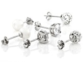 White Cubic Zirconia, Cultured Freshwater Pearl, And  Crystal Rhodium Over Silver Earrings