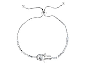 White Cubic Zirconia Rhodium Over Sterling Silver Hasma Hand Adjustable Bracelet 2.32ctw