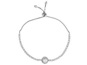 White Cubic Zirconia Rhodium Over Sterling Silver Adjustable Bracelet 4.69ctw