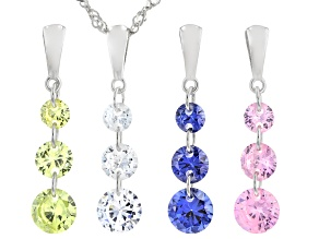 Blue, White, Yellow, And Pink Cubic Zirconia Rhodium Over Silver Pendants With Chain 9.40ctw