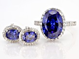 Blue And White Cubic Zirconia Rhodium Over Sterling Silver Ring And Earrings Set 11.59ctw