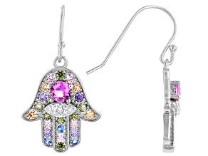 Multi-Color Cubic Zirconia, Lab Created Spinel, And Lab Created Ruby Rhodium Over Silver Earrings