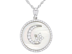 White Cubic Zirconia And Mother Of Pearl Rhodium Over Silver Pendant With Chain 3.45ctw