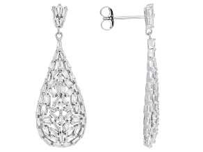 White Cubic Zirconia Rhodium Over Sterling Silver Earrings 3.42ctw
