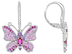 Lab Created Ruby, Purple And White Cubic Zirconia Rhodium Over Silver Butterfly Earrings 2.95ctw