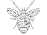 White Cubic Zirconia Rhodium Over Sterling Silver Bee Pendant With Chain 0.62ctw
