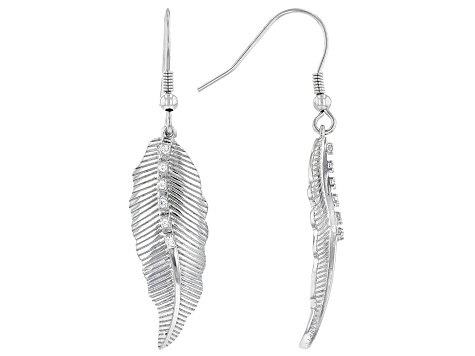 White Cubic Zirconia Rhodium Over Sterling Silver Feather Earrings 0.14ctw