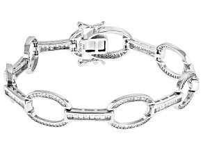 White Cubic Zirconia Rhodium Over Sterling Silver Bracelet 3.35ctw