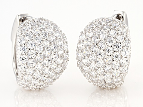 White Cubic Zirconia Rhodium Over Sterling Silver Earrings 6.04ctw