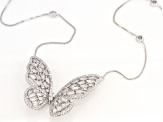 White Cubic Zirconia Rhodium Over Sterling Silver Butterfly Necklace 3.34ctw