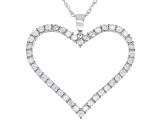 White Cubic Zirconia Rhodium Over Sterling Silver Heart Pendant With Chain 4.37ctw
