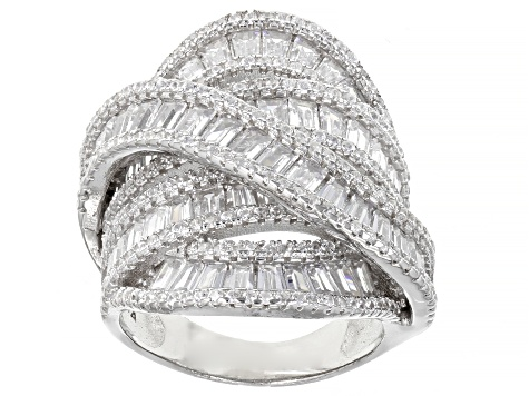 White Cubic Zirconia Rhodium Over Sterling Silver Ring 8.84ctw