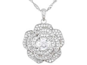 White Cubic Zirconia Rhodium Over Sterling Silver Flower Pendant With Chain 1.83ctw