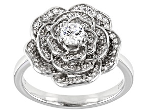 White Cubic Zirconia Rhodium Over Sterling Silver Flower Ring 0.99ctw