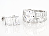 White Cubic Zirconia Rhodium Over Sterling Silver Ring With Band And Earrings 8.68ctw