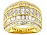 White Cubic Zirconia 18K Yellow Gold Over Sterling Silver Ring 4.83ctw