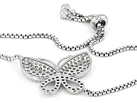 White Cubic Zirconia Rhodium Over Sterling Silver Adjustable Butterfly Bracelet 3.02ctw