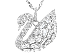 White Cubic Zirconia Rhodium Over Sterling Silver Swan Pendant With Chain 2.34ctw