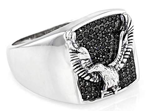 Black Diamond Simulant Rhodium Over Sterling Silver Men's Eagle Ring 0.66ctw