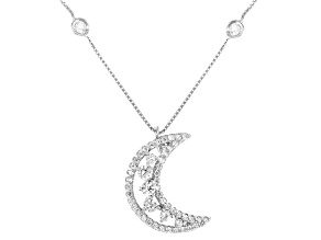White Cubic Zirconia Rhodium Over Sterling Silver Moon Station Necklace 1.19ctw