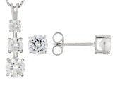 Cubic Zirconia Rhodium Over Sterling Silver Earrings And Pendant With Chain 6.14ctw