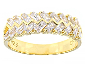 Picture of White Cubic Zirconia 18K Yellow Gold Over Sterling Silver Ring 1.31ctw