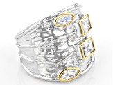 White Cubic Zirconia Rhodium And 14K Yellow Gold Over Sterling Silver Ring 2.61ctw
