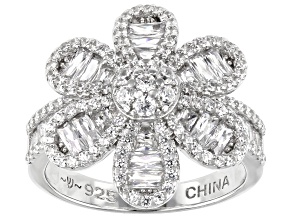 White Cubic Zirconia Rhodium Over Sterling Silver Flower Ring 2.95ctw