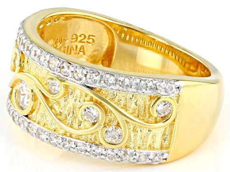 White Cubic Zirconia Rhodium And 18K Yellow Gold Over Sterling Silver Band Ring 1.26ctw