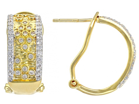 White Cubic Zirconia Rhodium And 18K Yellow Gold Over Sterling Silver Earrings 1.27ctw