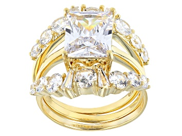 Picture of White Cubic Zirconia 18K Yellow Gold Over Sterling Silver Ring With Bands 7.09ctw