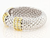 White Cubic Zirconia Rhodium And 14K Yellow Gold Over Sterling Silver Ring 0.43ctw