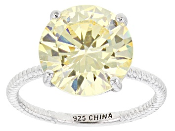 Picture of Yellow Cubic Zirconia Rhodium Over Sterling Silver Ring 10.32ctw