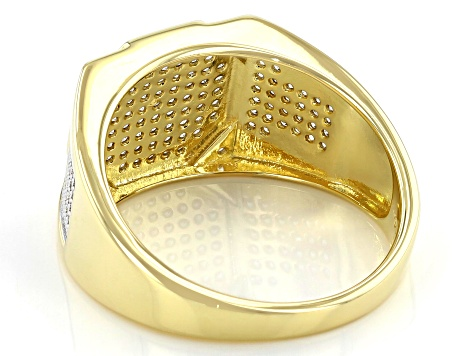 White Cubic Zirconia 18K Yellow Gold Over Sterling Silver Men's Ring 0.90ctw