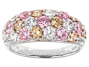 Champagne, Pink, And White Cubic Zirconia Rhodium Over Silver Ring 3.78ctw