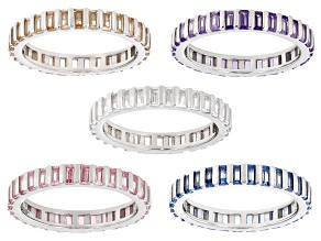 Multi Color Cubic Zirconia And Lab Created Blue Spinel Rhodium Over Silver Band Ring Set 10.70ctw