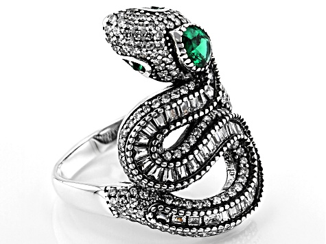 White Cubic Zirconia And Emerald Simulant Rhodium Over Silver Snake Ring 3.16ctw
