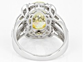 Yellow And White Cubic Zirconia Rhodium Over Sterling Silver Ring 5.87ctw
