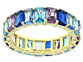 Blue And Purple Cubic Zirconia And Lab Created Spinel 18K Yellow Gold Over Silver Ring 8.51ctw