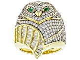 White Cubic Zirconia And Emerald Simulant 18K Yellow Gold Over Silver Owl Ring 4.76ctw