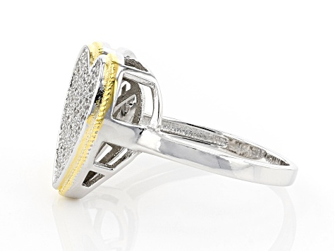White Cubic Zirconia Rhodium And 14K Yellow Gold Over Sterling Silver Heart Ring 0.91ctw