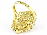 White Cubic Zirconia 18K Yellow Gold Over Sterling Silver Ring 4.64ctw