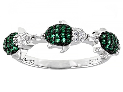 Emerald Simulant And White Cubic Zirconia Rhodium Over Silver Turtle Ring 0.55ctw