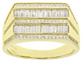 White Cubic Zirconia 18K Yellow Gold Over Sterling Men's Ring 2.01ctw