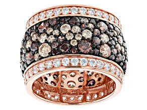 Mocha, Champagne, And White Cubic Zirconia 18K Rose Gold Over Sterling Silver Ring 10.80ctw