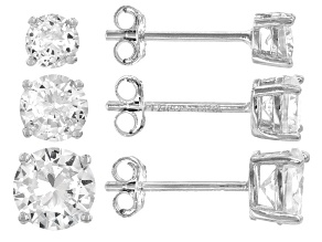 White Cubic Zirconia Rhodium Over Sterling Silver Stud Earring Set of 3 4.70ctw