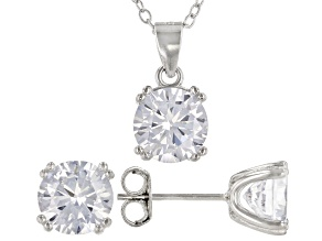 White Cubic Zirconia Rhodium Over Sterling Silver Earrings And Pendant With Chain 6.05ctw